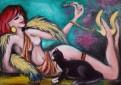 Kobieta z Kotem - sprzedam obraz olejny na płótnie