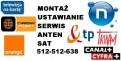 Montaż, ustawianie anten Sat, DVB-T, wi-fi, dostrajanie dekoderów
